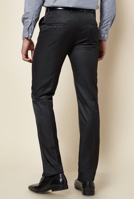 Zudio Black Solid Slim Fit Trouser