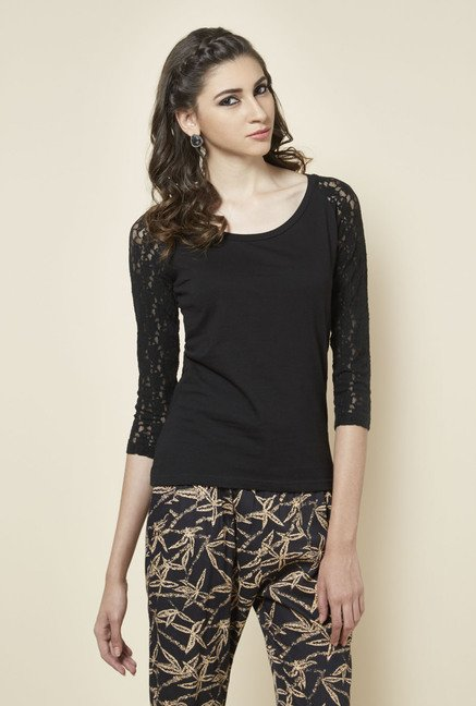 Zudio Black Solid Round Neck Top