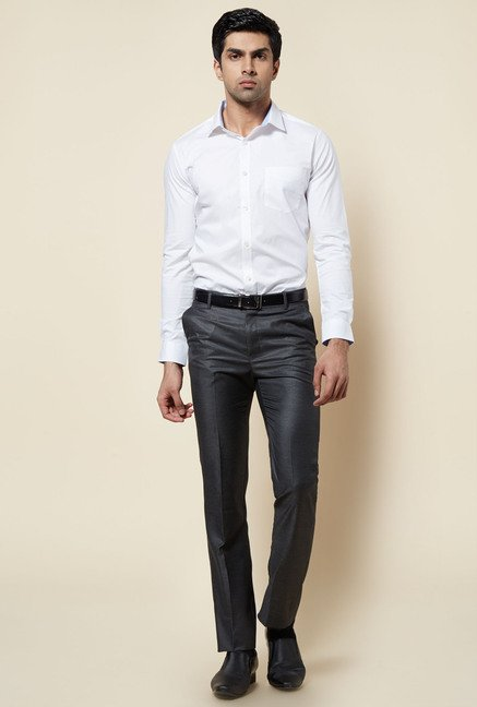 Zudio White Solid Slim Fit Shirt