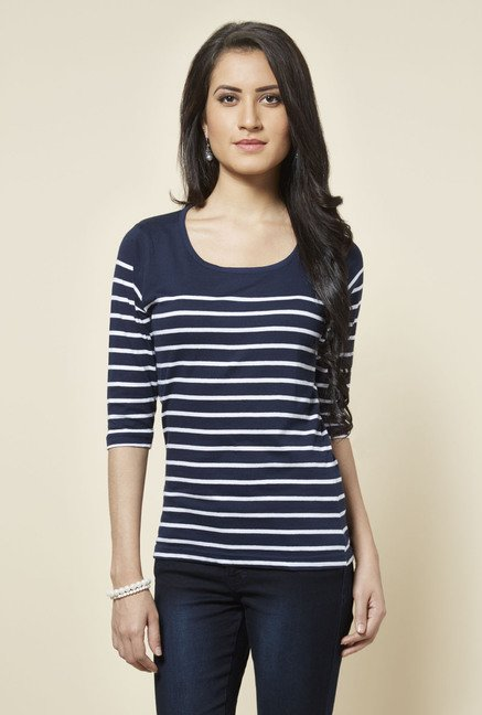 Zudio Navy Zoe Striped T Shirt
