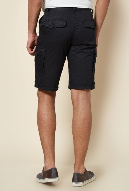 Zudio Black Solid Cargo Shorts
