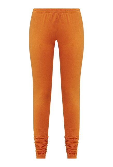 Zudio Orange Solid Leggings