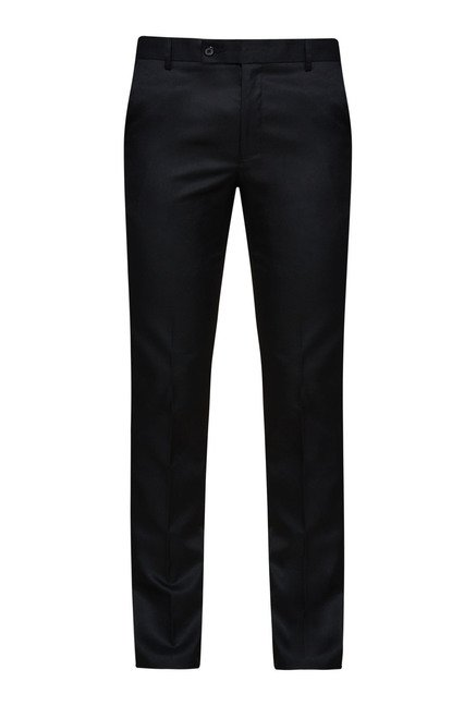 Zudio Black Solid Flat Front Trouser