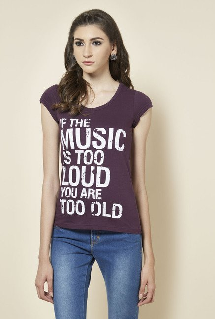Zudio Wine Printed Round Neck T Shirt
