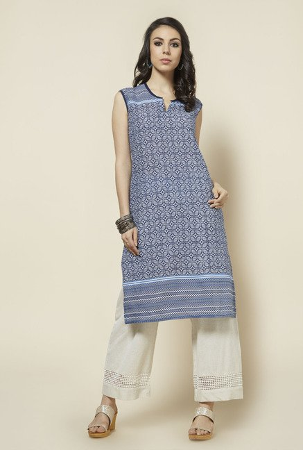 Zudio Indigo Printed Cotton Kurta