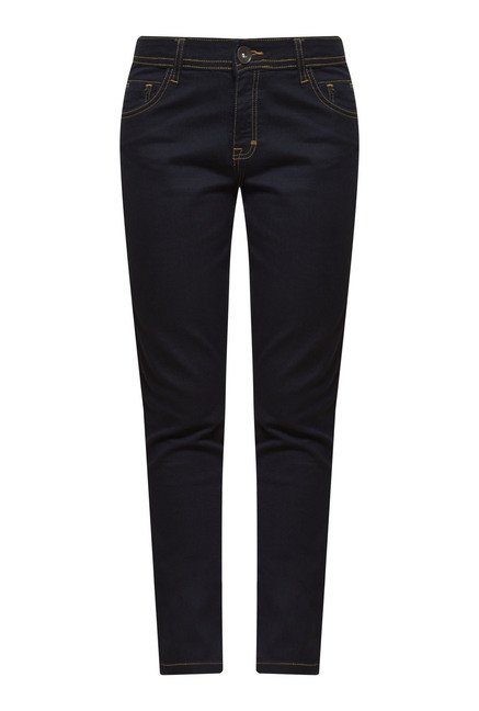 Zudio Navy Lightly Washed Denim Jeans