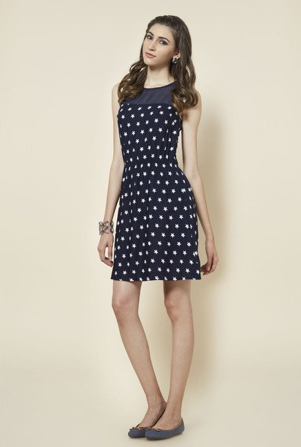 Zudio Navy Star Printed Jery Dress