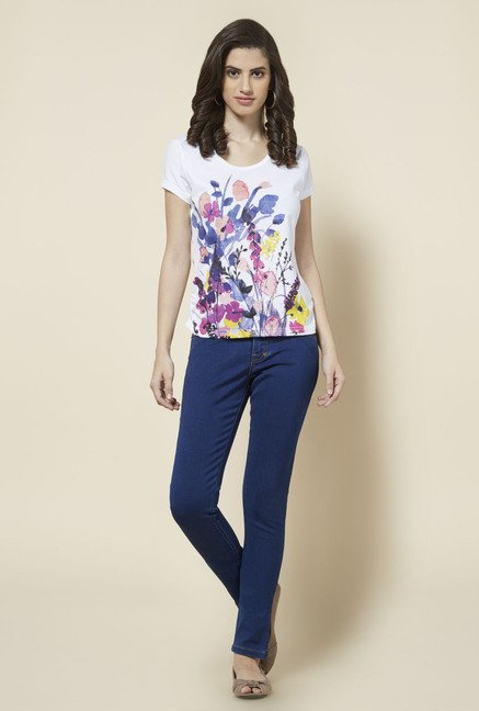 Zudio White Floral Printed T Shirt