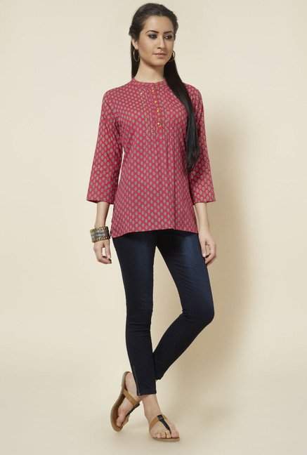 Zudio Pink Printed Cotton Kurti