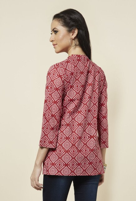 Zudio Red Printed Short Kurti