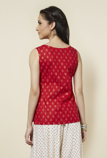 Zudio Red Printed Sleeveless Top