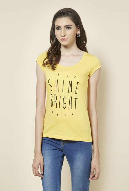 Zudio Yellow Printed T Shirt