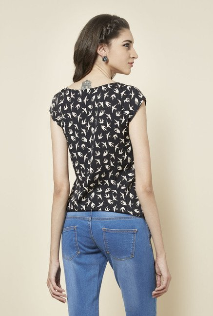 Zudio Black Bird Printed Top