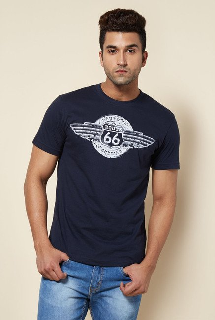 Zudio Navy Route 66 Wing Print T Shirt