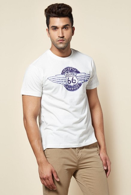 Zudio White Route 66 Wing Print T Shirt
