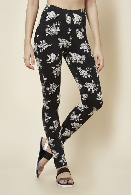 Zudio Black Floral Printed Leggings