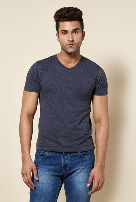 Zudio Navy Solid V Neck T Shirt