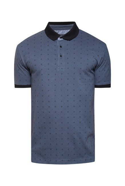 Zudio Grey Printed Polo T Shirt