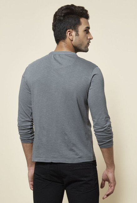 Zudio Grey Solid Henley Neck T Shirt