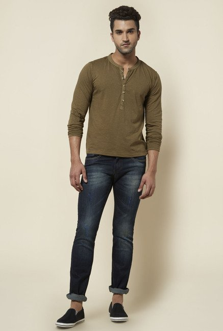 Zudio Olive Solid Henley Neck T Shirt