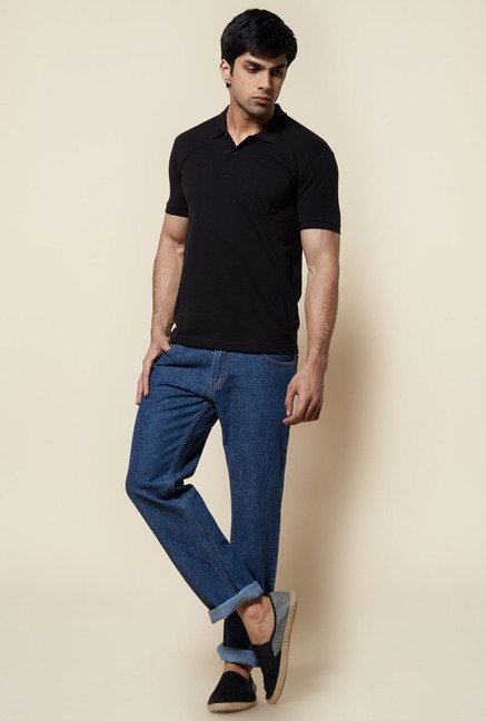 Zudio Black Solid Polo T Shirt