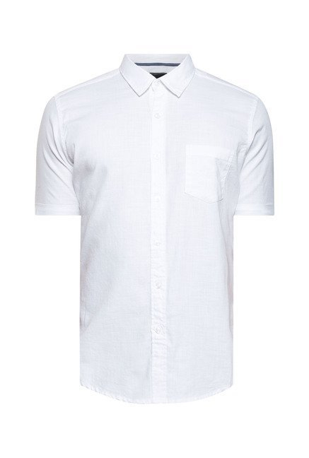 Zudio White Solid Cotton Shirt