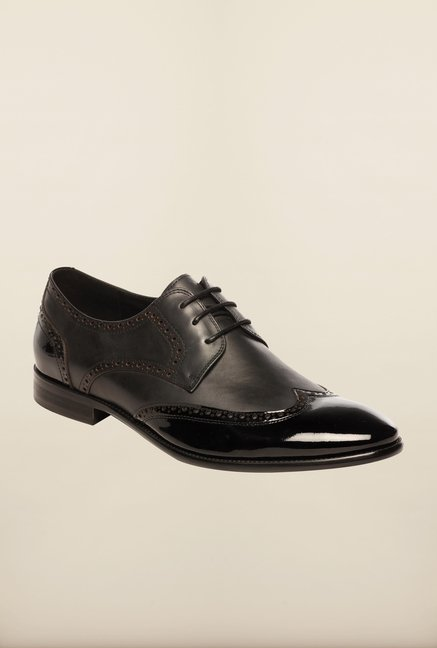 Pavers England Black Brogue Shoes