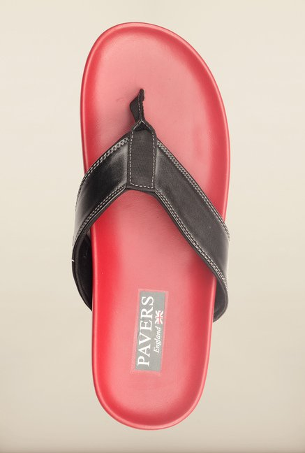 Pavers England Black & Red Slippers