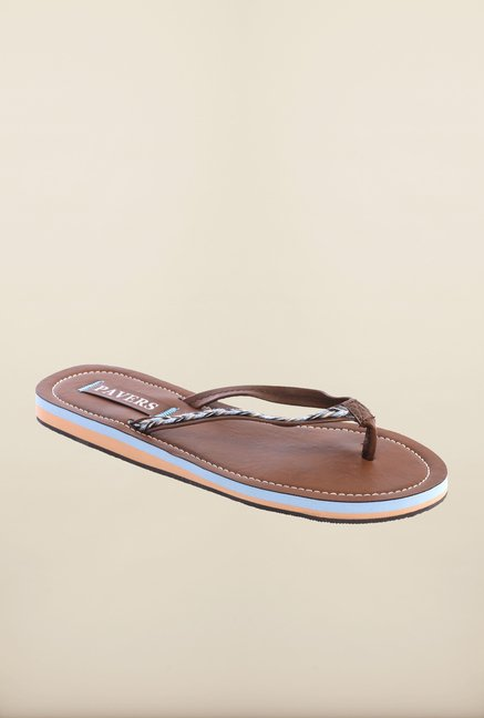 Pavers England Brown & Blue Slippers