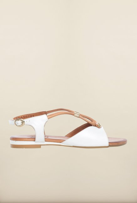 Pavers England White & Beige Flat Sandals