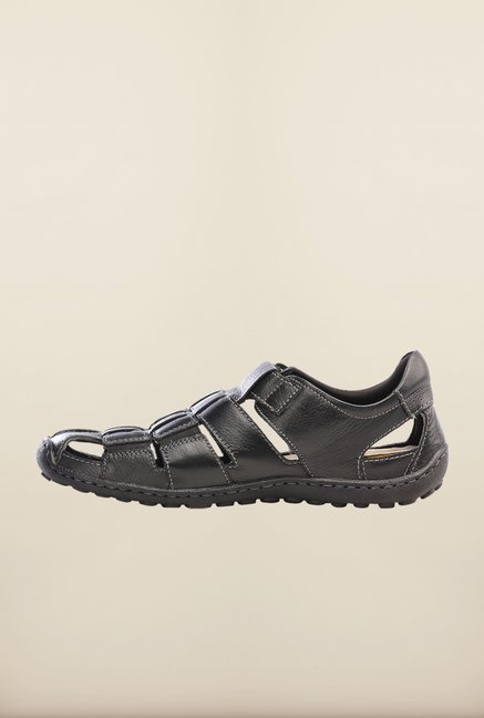 Pavers England Black Fisherman Sandals