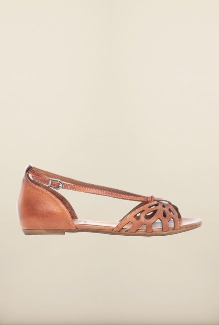 Pavers England Tan Flat Sandals