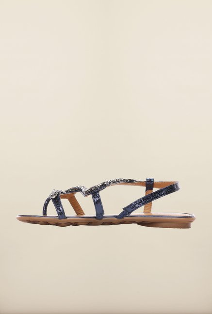 Pavers England Navy Flat Sandals