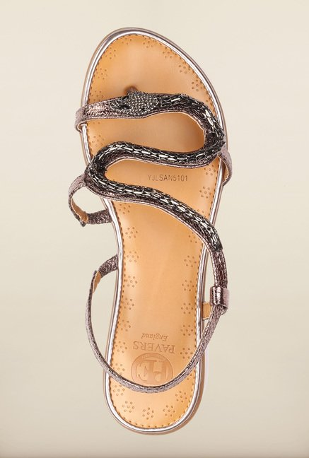 Pavers England Pewter Flat Sandals