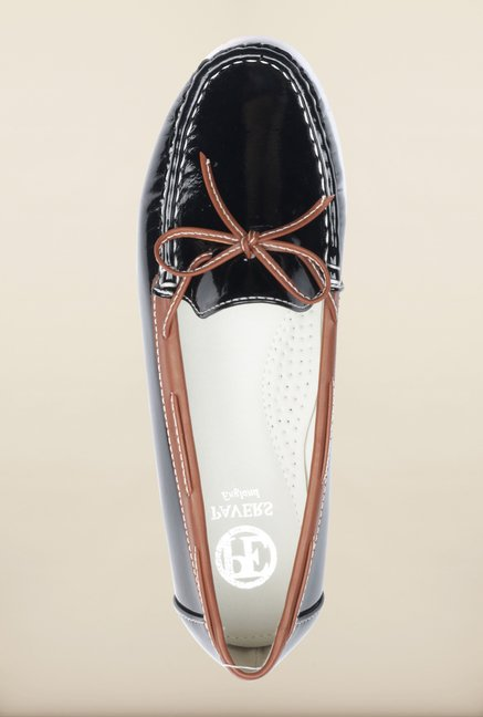 Pavers England Black Boat Shoes