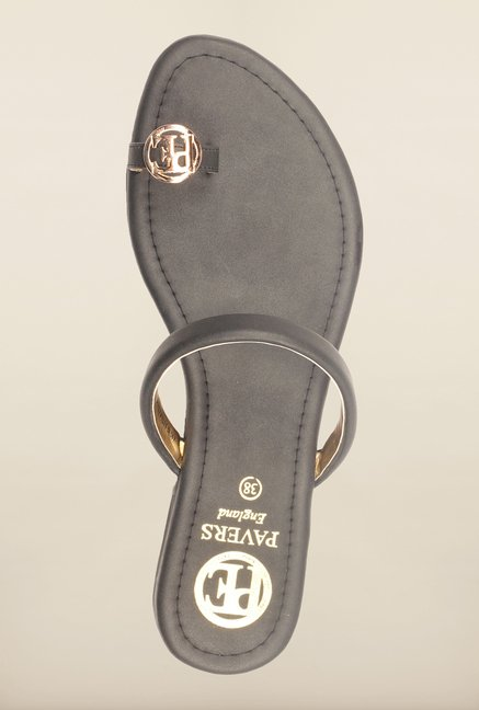Pavers England Black Flat Sandals