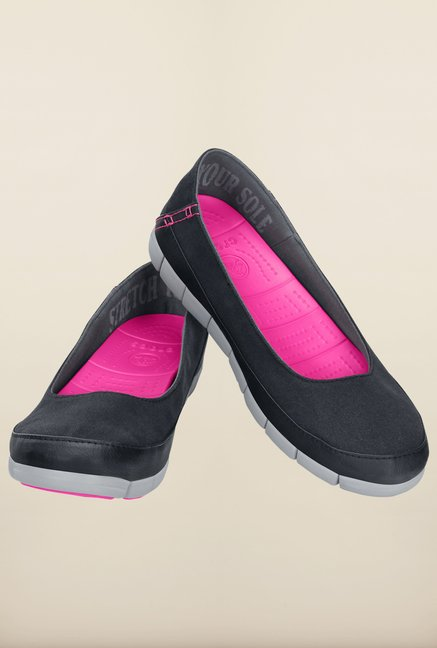 Crocs Stretch Sole Black and Light Grey Ballerina