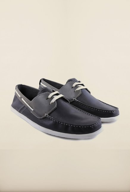 Arrow Black Leather Boat Shoes
