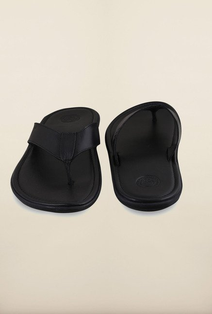 US Polo Assn. Black Leather Thong Slipper