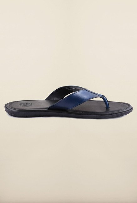 US Polo Assn. Navy Leather Thong Slipper