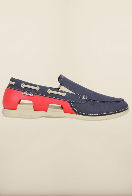 Crocs Beach Line Navy & Red Loafers