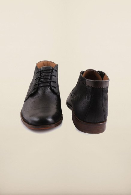 Arrow Black Leather Chukka Boots