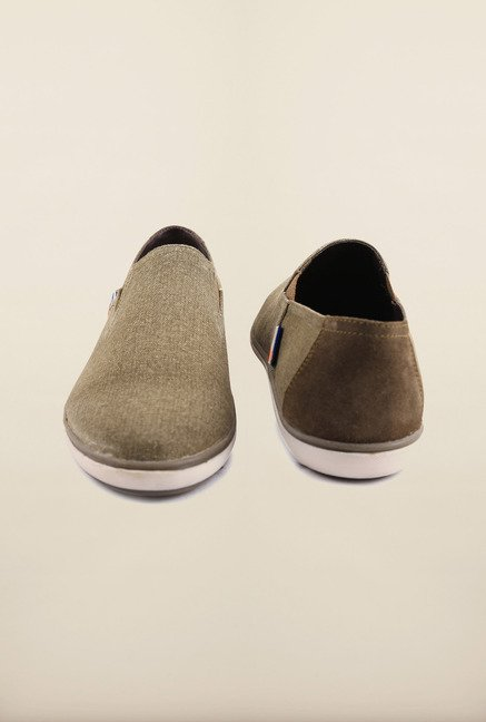 Arrow Olive Leather Slip-Ons Boat Shoes