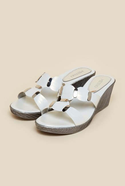 Metro White Slip-On Wedges