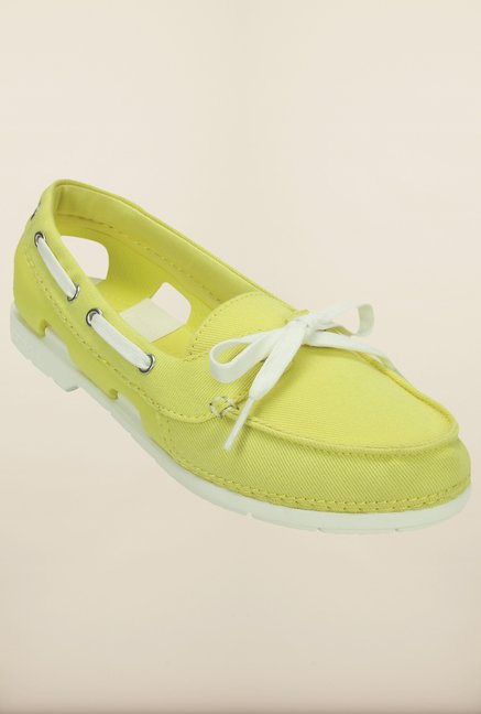 Crocs Beach Line Hybrid Chartreuse & White Shoes