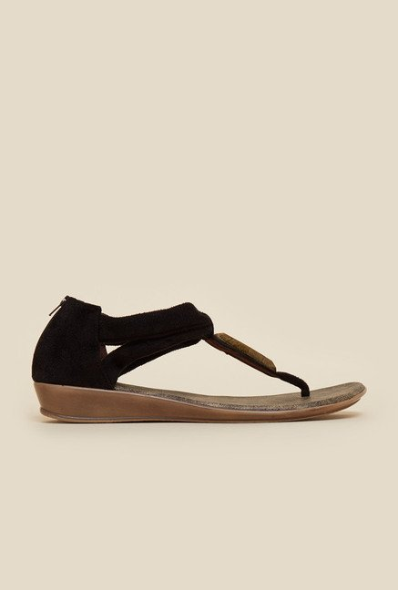 Metro Black Cloth Thong Sandals