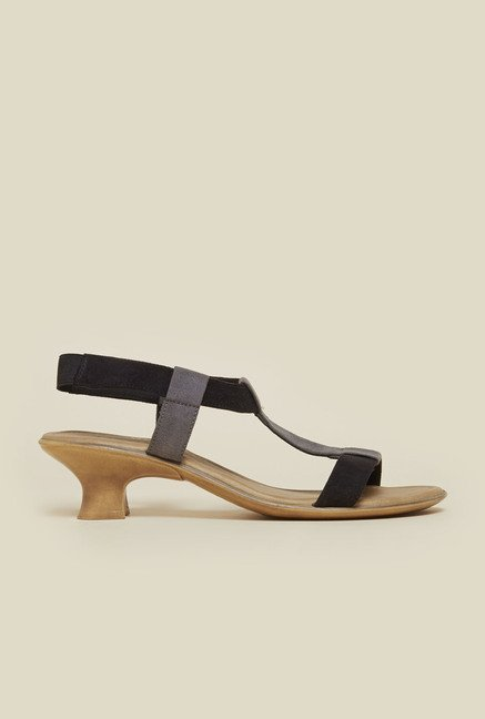 Metro Black Kitten Heel Sandals