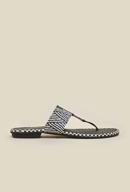 Metro Black And White Weave Sandals