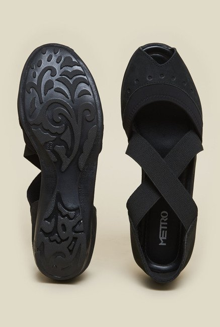 Metro Black Peep-Toe Sandals