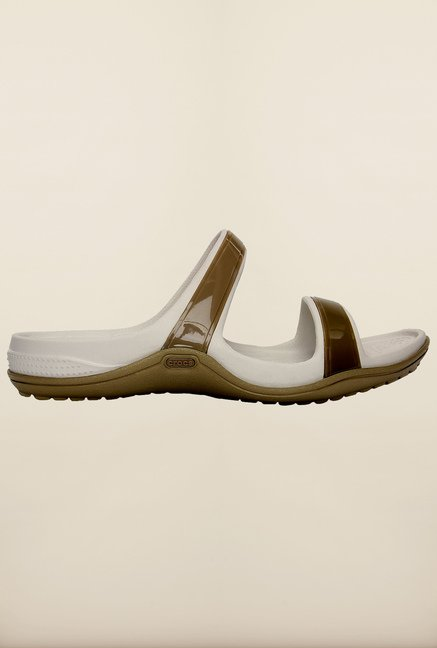 Crocs Patra II Khaki & Pearl White Slide Sandals